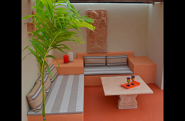 Your Private Roof Top Shaded Social Area featuring Mayan Art Pieces